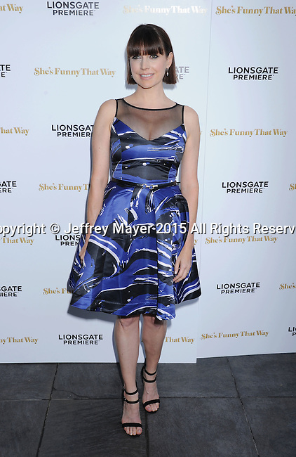 LOS ANGELES, CA - AUGUST 19: Actress Julie Ann Emery arrives at the Premiere Of Lionsgate Premiere's 'She's Funny That Way' at Harmony Gold on August 19, 2015 in Los Angeles, California.