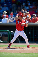 Philadelphia Phillies center fielder Adam Haseley (75) at bat during a Grapefruit League Spring Training game against the Baltimore Orioles on February 28, 2019 at Spectrum Field in Clearwater, Florida.  Orioles tied the Phillies 5-5.  (Mike Janes/Four Seam Images)