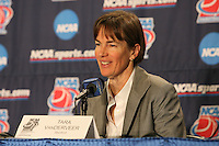 18 March 2006: Head coach Tara Vanderveer at the post-game press conference after Stanford's 72-45 win over Southeast Missouri State in the first round of the NCAA Women's Basketball championships at the Pepsi Center in Denver, CO.