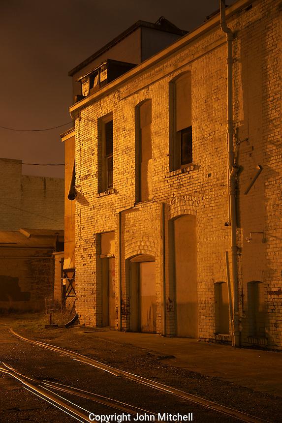 Back alley scene at night, Bellingham, Washington, USA