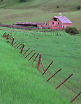 Wallowa County, OR  <br /> Weathered barn (dated 1915) and meandering fence in a green valley of the Zumwalt prairie