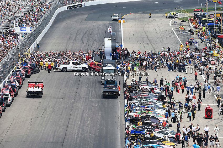 July 13, 2014 - Loudon, New Hampshire, U.S. - Nascar Sprint Cup Series drives are introduced before the start of the NASCAR Sprint Cup Series Camping World RV 301 race held at the New Hampshire Motor Speedway in Loudon, New Hampshire. Eric Canha/CSM