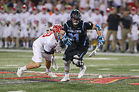 College Park, MD - April 29, 2017: Johns Hopkins Blue Jays Hunter Moreland (31) tries to get the groundball during game between John Hopkins and Maryland at  Capital One Field at Maryland Stadium in College Park, MD.  (Photo by Elliott Brown/Media Images International)