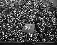 United Nations flag waves over crowd waiting to hear Dr. Syngman Rhee speak to the United Nations Council in Taegu, Korea.  July 30, 1950.  Sgt. Girard. (ARmy)<br /> NARA FILE #  111-SC-344511<br /> WAR & CONFLICT BOOK #:  1475