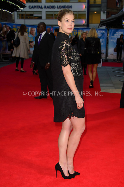 ACEPIXS.COM<br /> <br /> September 22 2014, London<br /> <br /> Rosamund Pike arriving at the UK premiere of 'What We Did On Our Holiday' at the Odeon West End on September 22 2014 in London<br /> <br /> By Line: Famous/ACE Pictures<br /> <br /> ACE Pictures, Inc.<br /> www.acepixs.com<br /> Email: info@acepixs.com<br /> Tel: 646 769 0430
