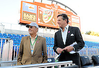 Oct. 8, 2009; Las Vegas, NV, USA; California Redwoods owner Paul Pelosi (right) with UFL executive Bill Hambrecht against the Las Vegas Locomotives during the inaugural United Football League game at Sam Boyd Stadium. Mandatory Credit: Mark J. Rebilas-