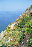 A stretch of the Italian coastline viewed from Riomaggorie in the Cinque Terre, Liguria.