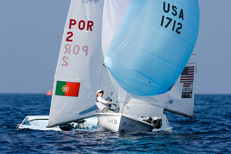 SANTANDER, SPAIN - SEPTEMBER 14:  470 Women - USA1712 - Annie Haeger / Briana PROVANCHA in action during Day 3 of the 2014 ISAF Sailing World Championships on September 14, 2014 in Santander, Spain.  (Photo by MickAnderson/SAILINGPIX via Getty Images)