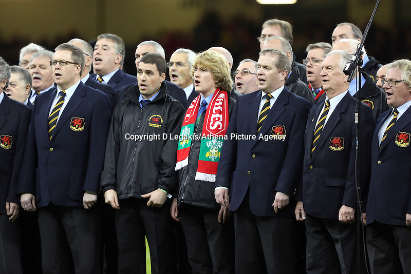 Pictured: A member of a welsh choir wearing a Wales scarf (C) Saturday 22 November 2014<br /> Re: Dove Men Series 2014 rugby, Wales v New Zealand at the Millennium Stadium, Cardiff, south Wales, UK.