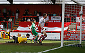 Joel Byrom of Stevenage Borough scores thje first goal during the Blue Square Premier match between Stevenage Borough and Forest Green Rovers at the Lamex Stadium, Broadhall Way, Stevenage on Saturday 10th April, 2010 ..© Kevin Coleman 2010