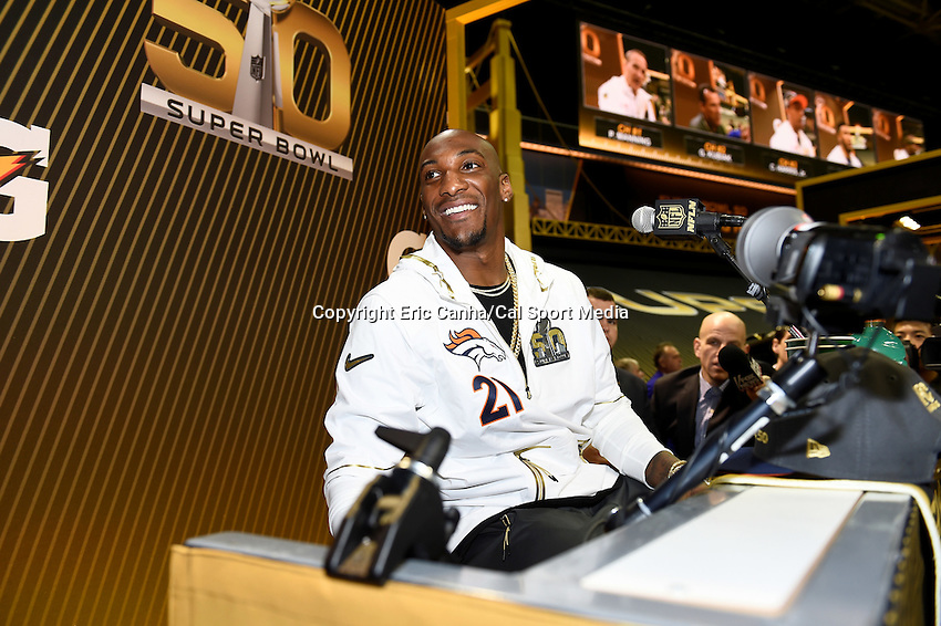 Monday, February 1, 2016: Denver Broncos cornerback Aqib Talib (21) talks to members of the media during the opening day of press conferences for the National Football League Super Bowl 50 between the Denver Broncos and the Carolina Panthers at the SAP Center, in San Jose, California. Eric Canha/CSM