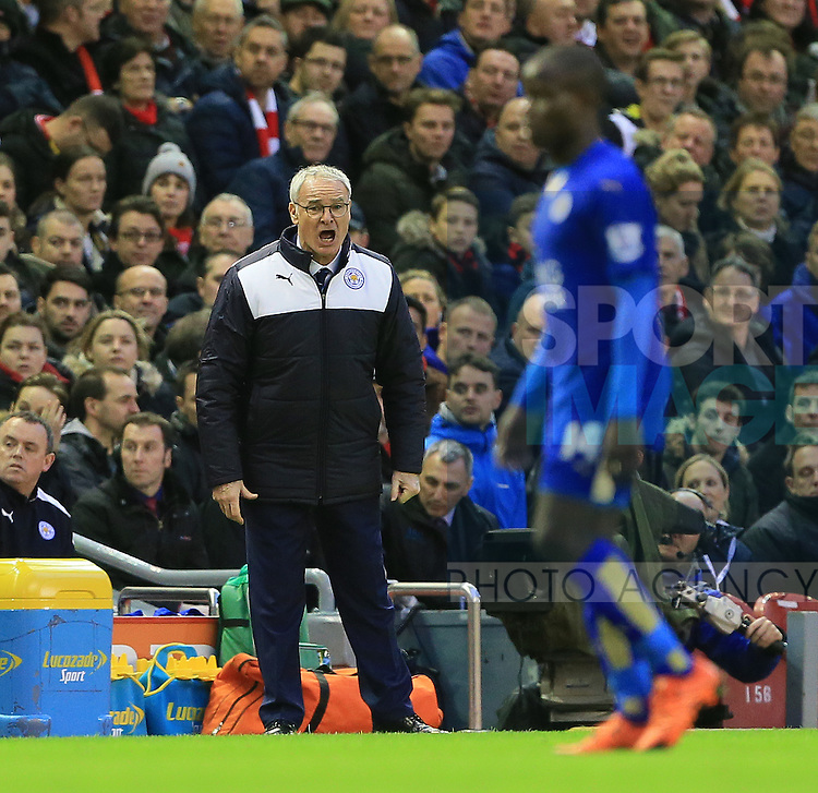 Leicester's Claudio Ranieri in action<br /> <br /> Barclays Premier League- Liverpool vs Leicester City - Anfield - England - 26th December 2015 - Picture David Klein/Sportimage