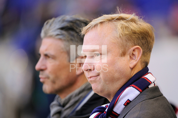 New York Red Bulls general manager Erik Soler (L) talks with president of business operations Chris Heck (R) prior to the 1st leg of the Major League Soccer (MLS) Western Conference Semifinals against the Los Angeles Galaxy at Red Bull Arena in Harrison, NJ, on October 30, 2011.