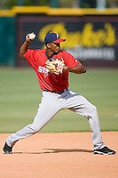 Shortstop Alcides Escobar (15) of the Huntsville Stars makes a throw to first base during batting practice at the Baseball Grounds in Jacksonville, FL, Thursday June 12, 2008.