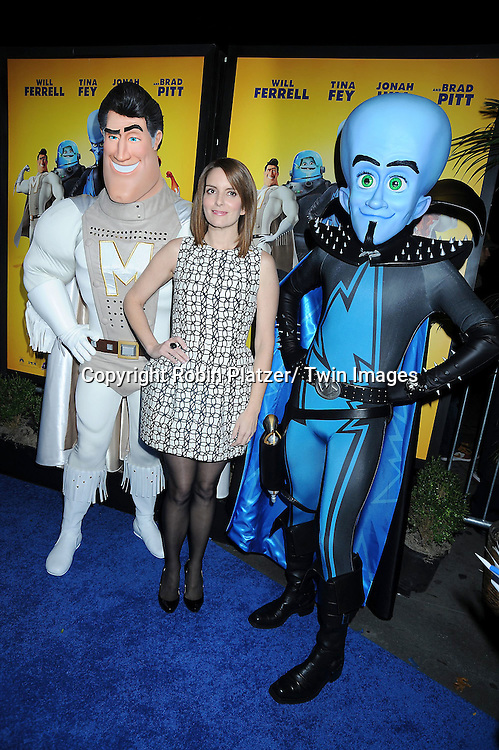 "Tina Fey and Megamind at the New York Premiere of "" Megamind"" .on November 3, 2010 at the AMC Lincoln Square Theatre."