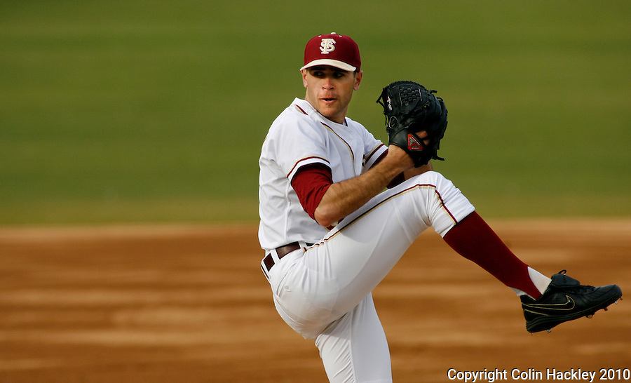 TALLAHASSEE, FL 10-FSU-GA.ST. BASE10 CH11-Florida State pitcher Sean Gilmartin threw seven innings for the win against Georgia State Friday at Dick Howser Stadium in Tallahassee. The Seminoles beat the Panthers 11-3 in the 2010 season opener...COLIN HACKLEY PHOTO