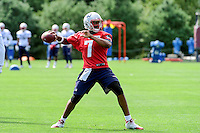 Wednesday, August 17, 2016: New England Patriots quarterback Jacoby Brissett (7) throws a pass at a joint training camp session between the Chicago Bears and the New England Patriots held at Gillette Stadium in Foxborough Massachusetts. Eric Canha/CSM
