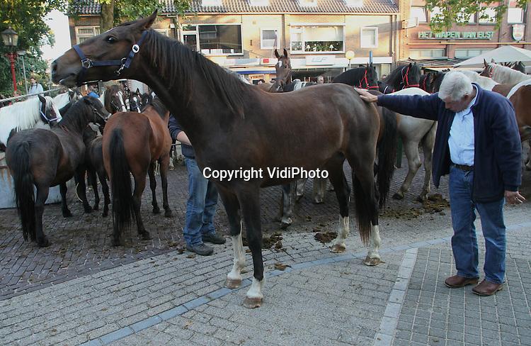 Foto: VidiPhoto..ELST - Met een aanvoer van ver boven de 2000 dieren, doet de oudste paardenmarkt van Nederland maandag opnieuw een serieuze gooi naar de titel van tevens de grootste. De paardenmarkt in het Betuwse Elst dateert al vanaf de Middeleeuwen en behoort met Hedel en Zuid-Laren tot de drie grootste van Nederland. Hoewel er meer dieren werden aangevoerd dan verwacht, was er relatief weinig handel met lage prijzen. Handelaren spreken zelfs van dumpprijzen.