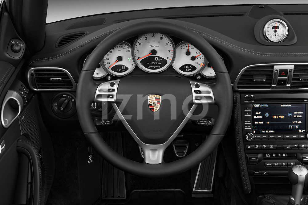 Steering wheel detail view of a 2009 Porsche Carrera Turbo