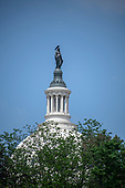 Very high resolution stock photo of the Statue of Freedom at the top of the dome of the United States Capitol looking towards the East Front from Independence Avenue in Washington, DC on Friday, May 11, 2018.<br /> Credit: Ron Sachs / CNP