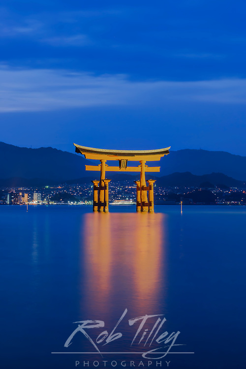 Japan, Miyajima, Itsukushima Shrine, Twilight Floating Torii Gate