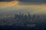 LOS ANGELES, CA - NOVEMBER 1: General view of Dodger Stadium and downtown LA before the start of Game 7 of the 2017 World Series between the Houston Astros and the Los Angeles Dodger in Los Angeles, California on November 1, 2017. (Photo by Donald Miralle)