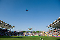 Goodyear blimp hovers over the Home Depot Center during MLS Cup 2008. Columbus Crew defeated the New York Red Bulls, 3-1, Sunday, November 23, 2008. Photo by John Todd/isiphotos.com