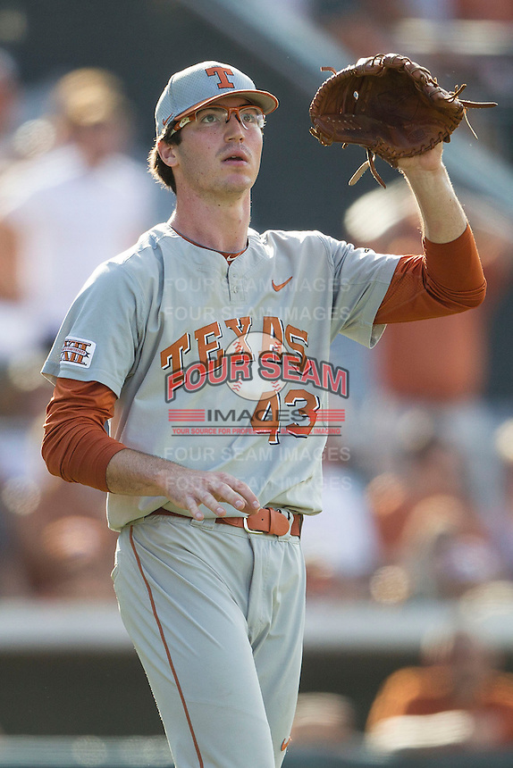 Texas Longhorns pitcher John Curtiss (43) during the NCAA baseball game against the Houston Cougars on June 6, 2014 at UFCU Disch–Falk Field in Austin, Texas. The Longhorns defeated the Cougars 4-2 in Game 1 of the NCAA Super Regional. (Andrew Woolley/Four Seam Images)