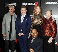 NEW YORK, NY November 15:Billy Bob Thornton, Brett Kelly, Christina Hendricks, Kathy Bates, Tony Cox at Broad Green Picture & Miramax's presents New York premiere of BAD SANTA 2 at AMC Loews Lincoln Square in New York City.November 15, 2016. Credit:RW/MediaPunch