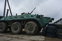 An armored personnel carrier (APC) in  the occupied ukrainian military base in Feodosia