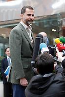 Prince Felipe of Spain visit King Juan Carlos of Spain at La Milagrosa Hospital in Madrid, Spain. March 03, 2013. (ALTERPHOTOS/Caro Marin) /NortePhoto