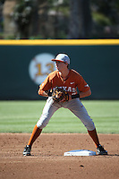 Kody Clemens (2) of the Texas Longhorns takes a throw at second base during a game against the UCLA Bruins at Jackie Robinson Stadium on March 12, 2016 in Los Angeles, California. UCLA defeated Texas, 5-4. (Larry Goren/Four Seam Images)
