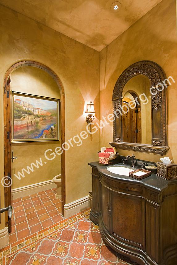 Ornate Bathroom with granite vanity Stock photo of residential guest bathroom, powder room.