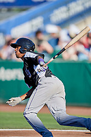 Cristopher Navarro (7) of the Grand Junction Rockies bats against the Ogden Raptors at Lindquist Field on June 25, 2018 in Ogden, Utah. The Raptors defeated the Rockies 5-3. (Stephen Smith/Four Seam Images)
