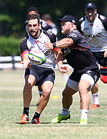 Akker van der Merwe tackling Keegan Daniel during the cell c sharks pre season training session at  Growthpoint Kings Park ,22,01,2018 Photo by Steve Haag)