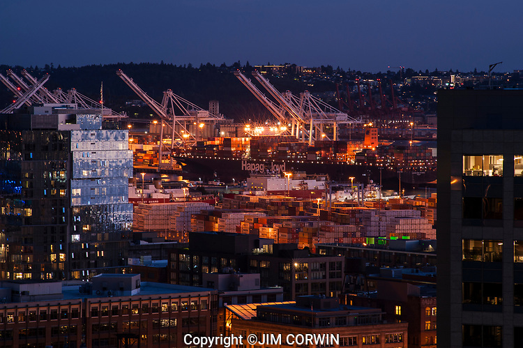 Port of Seattle with Tanker Ships