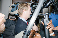 Media surround Vice President Mike Pence in the New Hampshire Secretary of State's office in the New Hampshire State House  in Concord, New Hampshire, on Thu., November 7, 2019. Pence traveled to New Hampshire as a surrogate for Donald Trump to file required paperwork for the president to get on the New Hampshire presidential primary ballot in 2020. The required documents include a filing form signed by the candidate and a $1000 filing fee.During the filing, Pence was surrounded by prominent New Hampshire and New England Republicans including former Trump campaign manager Corey Lewandowski.  At center is Fox News reporter Peter Doocy.