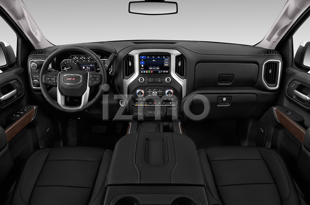 Stock photo of straight dashboard view of a 2019 GMC Sierra 1500 SLT 4 Door Pick Up