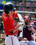 WATERBURY,  CT-041319JS14- Watertown's John Biolo (1) fouls off a pitch during their game with Sacred Heart Saturday at Waterville Park in Waterbury. <br /> Jim Shannon Republican American