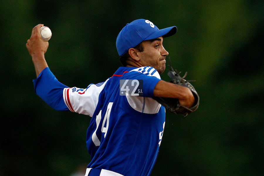 21 June 2011: Thomas Meley of Team France pitches against Czech Republic during Czech Republic 3-1 win over France, at the 2011 Prague Baseball Week, in Prague, Czech Republic.