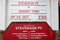 The sign advertising the match during Stevenage vs Grimsby Town, Sky Bet EFL League 2 Football at the Lamex Stadium on 12th October 2019