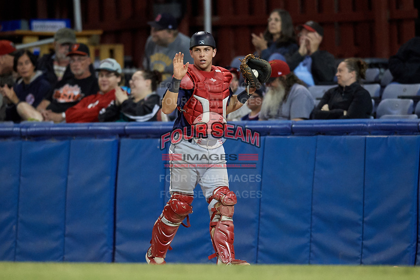 State College Spikes catcher Matt Duce (8) calls time during a game against the Batavia Muckdogs on July 7, 2018 at Dwyer Stadium in Batavia, New York.  State College defeated Batavia 7-4.  (Mike Janes/Four Seam Images)