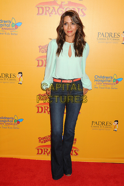 Marisol Nichols.Ringling Bros. & Barnum & Bailey 'Dragons' Premiere held at the Staples Center, Los Angeles, California, USA 12th July 2012 .full length green top jeans denim.CAP/ADM/BP.©Byron Purvis/AdMedia/Capital Pictures.
