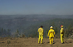 August 22, 2001 Coulterville, California  -- Creek Fire – View from Jackass Ridge. The Creek Fire burned 11,500 acres between Highway 49 and Priest-Coulterville Road a few miles north of Coulterville, California.