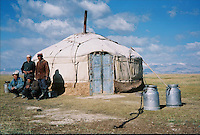A Kyrgyz family living in the Yurt next to Karakul in Tadzhikistan. .The M41 Highway from the Ismaili capital of Khorog to the south capital of Kyrgyzstan - Osh, via the head district of Badakhshan - Murgab and the Akbajtal Pass at 4655 meters.