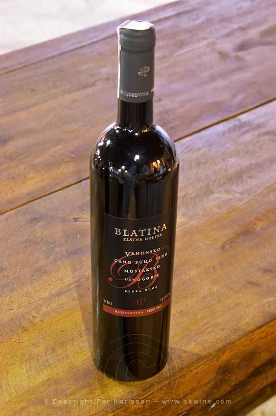 Bottle of Blatina Zlatna Dolina Vrhunsko Crno Suho Vino red wine 2004 Hercegovina Produkt winery, Citluk, near Mostar. Federation Bosne i Hercegovine. Bosnia Herzegovina, Europe.