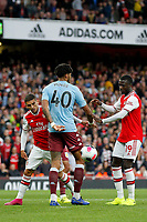 Tyrone Mings of Aston Villa refuses to give the ball back during the Premier League match between Arsenal and Aston Villa at the Emirates Stadium, London, England on 22 September 2019. Photo by Carlton Myrie / PRiME Media Images.