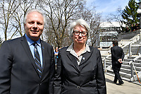 PQ Leader Jean-Francois Lisee and Agnes Maltais<br /> attend Jeanine Sutto funerals, April 10, 2017.<br /> <br /> PHOTO  :  Agence Quebec Presse