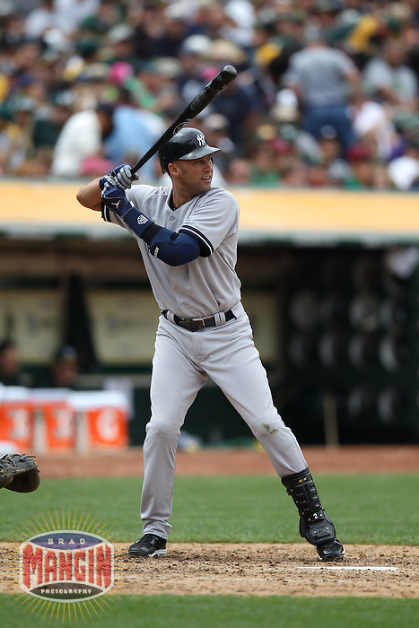 OAKLAND, CA - MAY 26:  Derek Jeter #2 of the New York Yankees bats against the Oakland Athletics during the game at O.co Coliseum on Saturday May 26, 2012 in Oakland, California. Photo by Brad Mangin