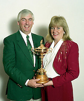 The late Christy O'Connor Jnr and his wife Anne pictured with the Ryder Cup while on a visit to Killarney Gold Club in 1990.<br /> Photo Don MacMonagle